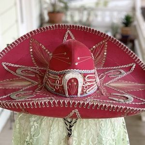 Vintage Pigalle Authentic Pink Mexican Sombrero